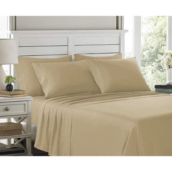 6 Piece EMBROIDERY Microfiber Deep Pocket Bed Sheet Set-Taupe-Twin-Daily Steals