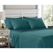 6 Piece EMBROIDERY Microfiber Deep Pocket Bed Sheet Set-Teal-Queen-Daily Steals