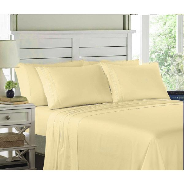 6 Piece EMBROIDERY Microfiber Deep Pocket Bed Sheet Set-Vanilla-Twin-Daily Steals