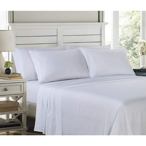6 Piece EMBROIDERY Microfiber Deep Pocket Bed Sheet Set-White-Twin-Daily Steals