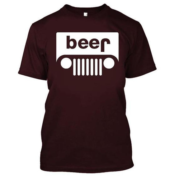 Adult Beer Jeep Funny Drinking Party T-Shirt-Maroon-XL-Daily Steals