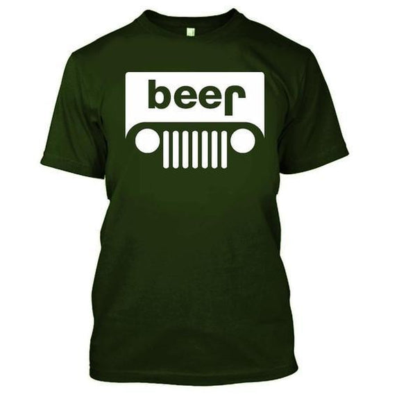 Adult Beer Jeep Funny Drinking Party T-Shirt-Military Green-XL-Daily Steals