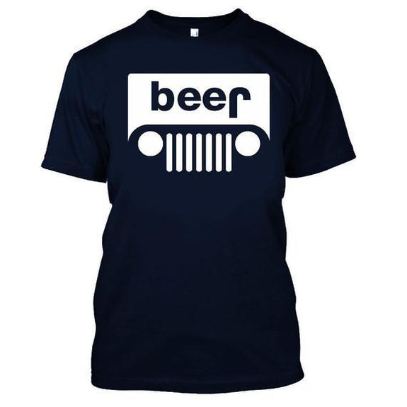 Adult Beer Jeep Funny Drinking Party T-Shirt-Navy Blue-XL-Daily Steals