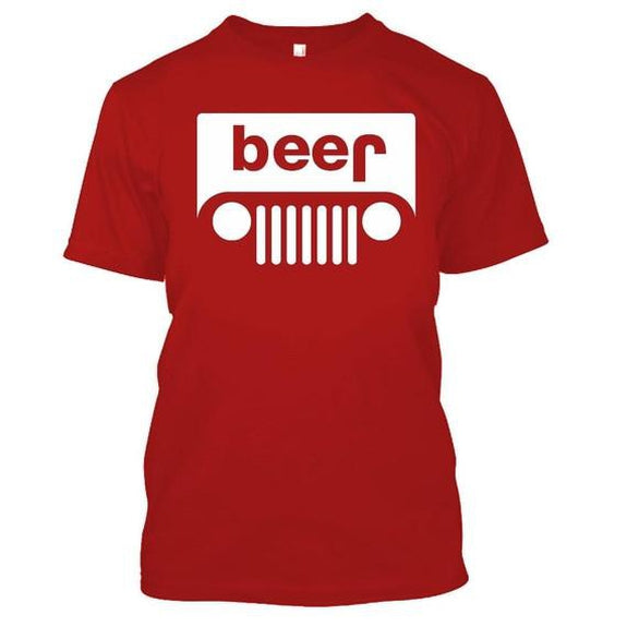 Adult Beer Jeep Funny Drinking Party T-Shirt-Red-XL-Daily Steals
