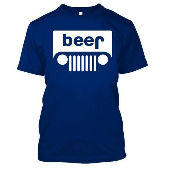 Adult Beer Jeep Funny Drinking Party T-Shirt-Royal Blue-XL-Daily Steals