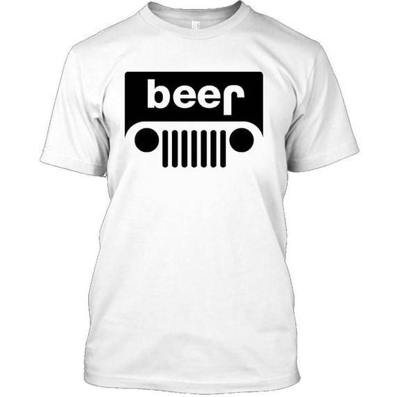 Adult Beer Jeep Funny Drinking Party T-Shirt-White-XL-Daily Steals