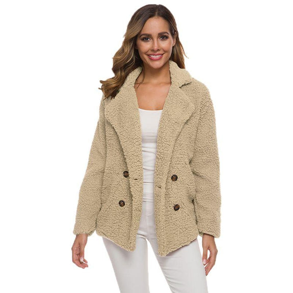 Soft Comfy Plush Pea Coat-Beige-Large-Daily Steals