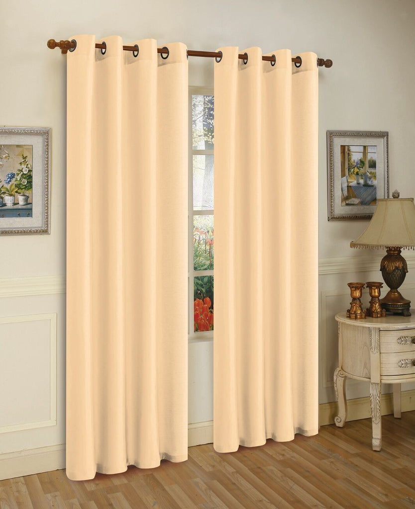 Mira Faux Silk Curtains with Bronze Grommets - 3 Panels-Beige-Daily Steals