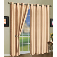 Set of Two Stylish Curtain Panels with Rod Grommets: 58 x 84 Inches-Beige-Daily Steals