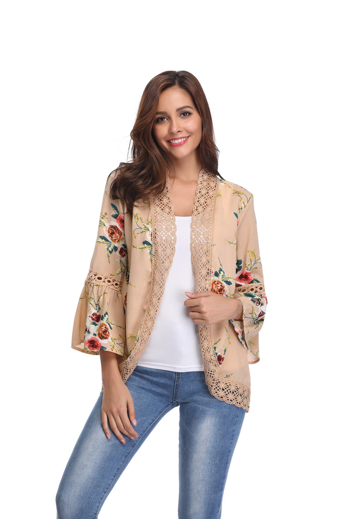 Stylish & Comfortable Bell Sleeve Cardigan-Beige-Large-Daily Steals