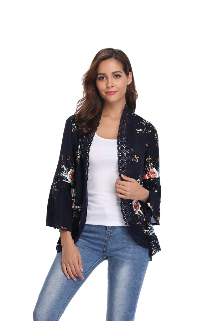 Stylish & Comfortable Bell Sleeve Cardigan-Dark Blue-2X-Daily Steals