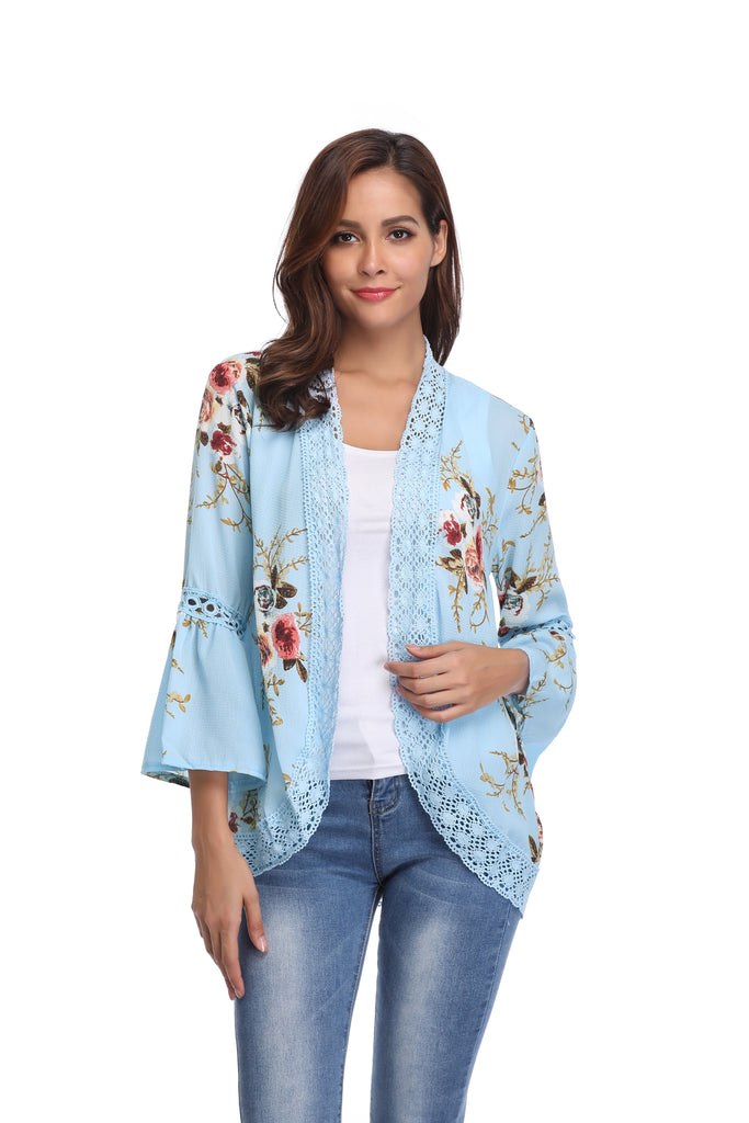 update alt-text with template Daily Steals-Stylish & Comfortable Bell Sleeve Cardigan-Women's Apparel-Light Blue-Large-
