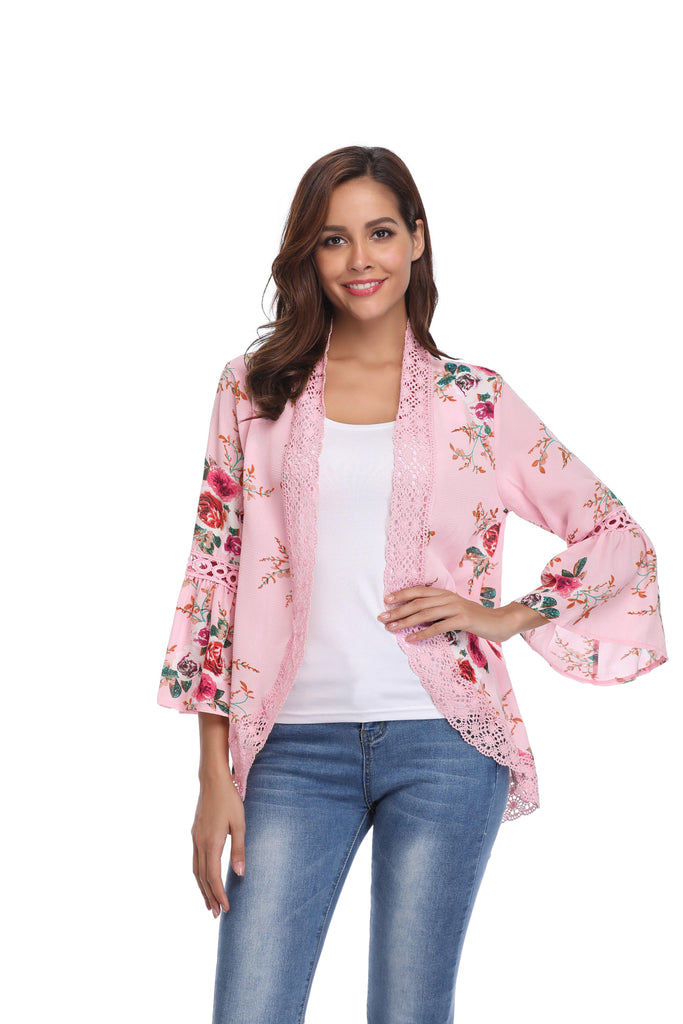 Stylish & Comfortable Bell Sleeve Cardigan-Pink-Large-Daily Steals