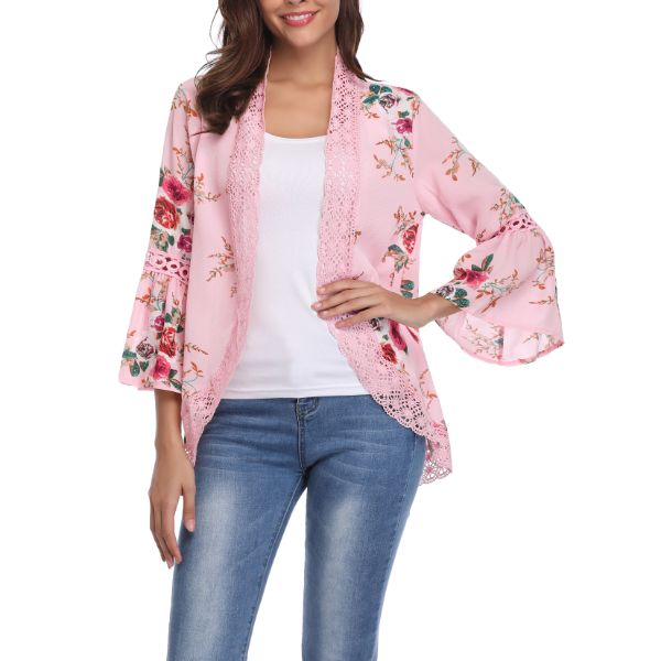 Stylish & Comfortable Bell Sleeve Cardigan-Pink-2X-Daily Steals