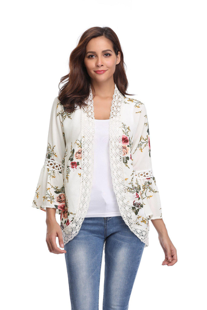 Stylish & Comfortable Bell Sleeve Cardigan-White-Large-Daily Steals