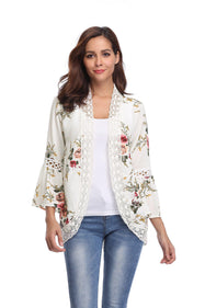 Cardigan élégant et confortable à manches cloche-Blanc-Large-Daily Steals