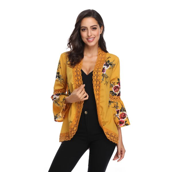 Stylish & Comfortable Bell Sleeve Cardigan-Yellow-2X-Daily Steals