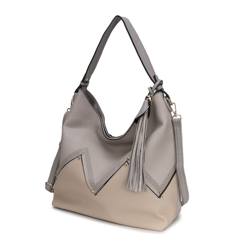 Belmey Hobo Vegan Leather Handbag by MKF-Light Grey-Daily Steals