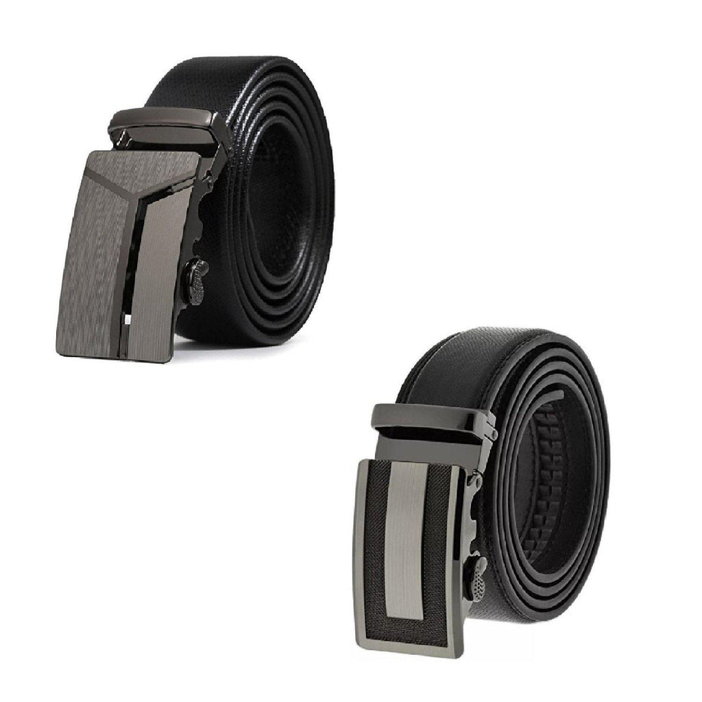[BOGO] Mens Black Formal Leather Ratchet Automatic Sliding Belt - Fits S to XL (Y & I Design)