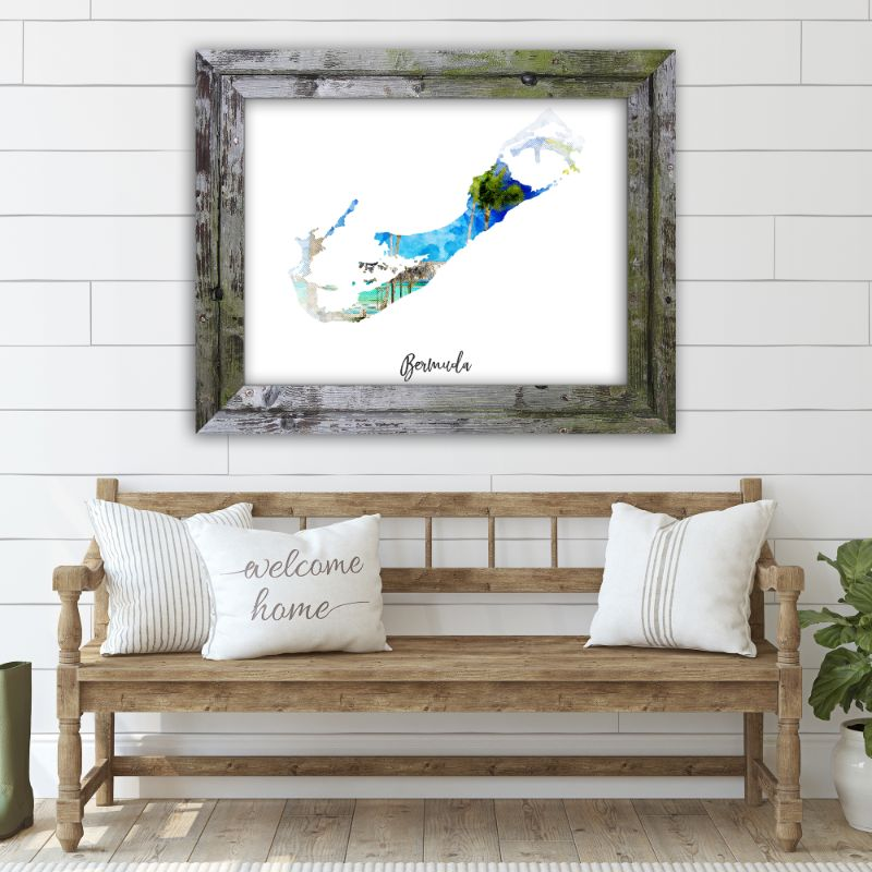 "Bermuda Watercolor Map Print - Unframed Art Print-19""x13""-Horizontal/Landscape-Daily Steals"