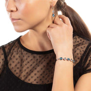 Bertha Jemma Collection Women's 18k Gold Plated Bolo Bracelet-Black/White Gold-