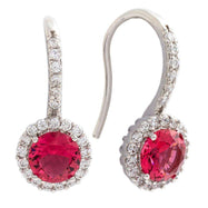 Bertha Juliet Collection Women's 18k Gold Plated Halo Fashion Earrings-Red/White Gold-