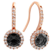 Bertha Juliet Collection Women's 18k Gold Plated Halo Fashion Earrings-Black/Rose Gold-