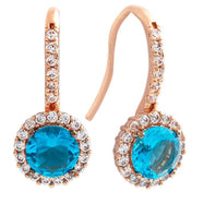 Bertha Juliet Collection Women's 18k Gold Plated Halo Fashion Earrings-Blue/Rose Gold-