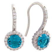 Bertha Juliet Collection Women's 18k Gold Plated Halo Fashion Earrings-Blue/White Gold-
