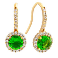 Bertha Juliet Collection Women's 18k Gold Plated Halo Fashion Earrings-Green/Gold-