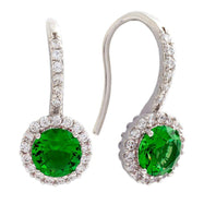 Bertha Juliet Collection Women's 18k Gold Plated Halo Fashion Earrings-Green/White Gold-