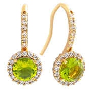 Bertha Juliet Collection Women's 18k Gold Plated Halo Fashion Earrings-Light Green/Gold-