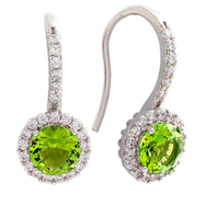 Bertha Juliet Collection Women's 18k Gold Plated Halo Fashion Earrings-Light Green/White Gold-