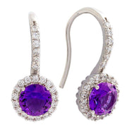 Bertha Juliet Collection Women's 18k Gold Plated Halo Fashion Earrings-Purple/White Gold-