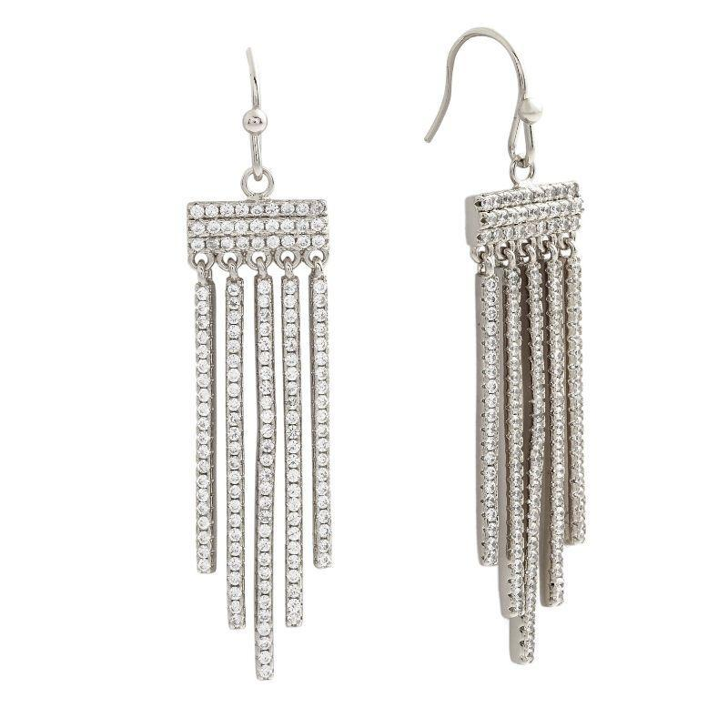 Bertha Sophia Collection Women's 18k Gold Plated Bar Drop Earrings-White Gold-