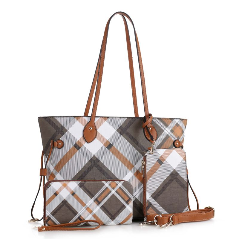 Bertine Tote Handbag with Wallet and Coin Pouch by MKF-Brown-Daily Steals
