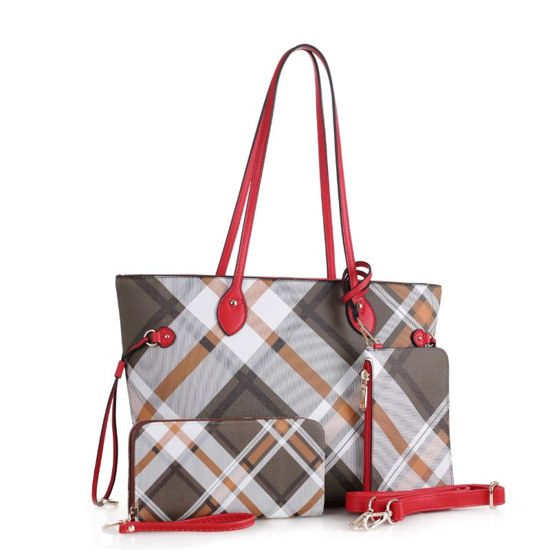 Bertine Tote Handbag with Wallet and Coin Pouch by MKF-Red-Daily Steals