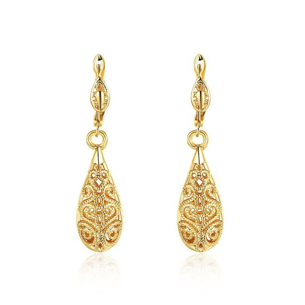 18K Gold Laser Cut Filigree Drop Earrings-Yellow Gold-Daily Steals