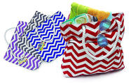 Fashionable Beach Tote Bag with Large Inner Zipper Pocket and Rope Handles-Stripes - Blue-Daily Steals