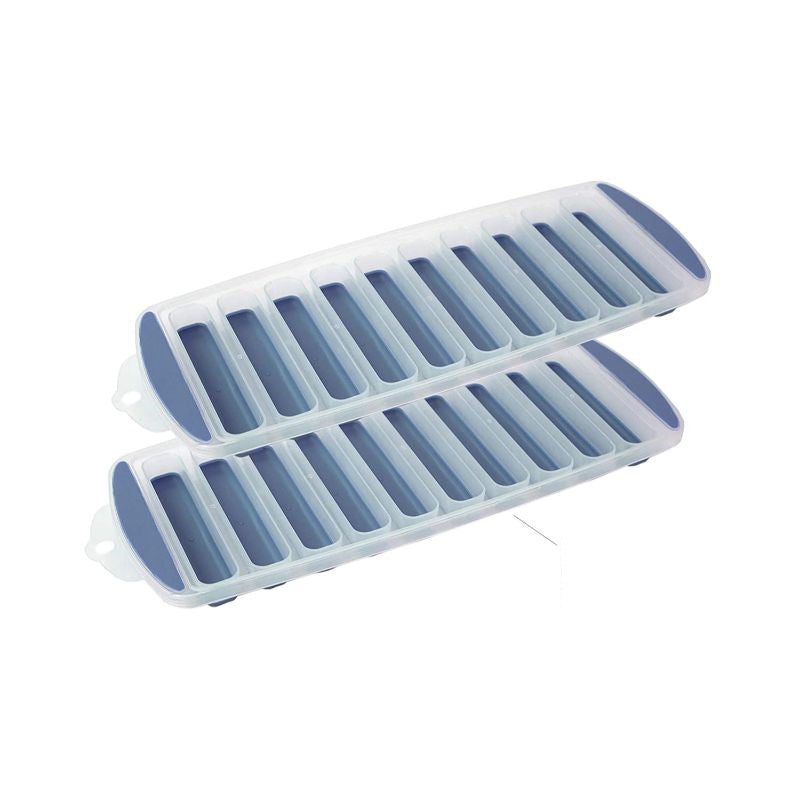 Home Basics Ultra-Slim Plastic Blue Ice Cube Trays - 2 Pack