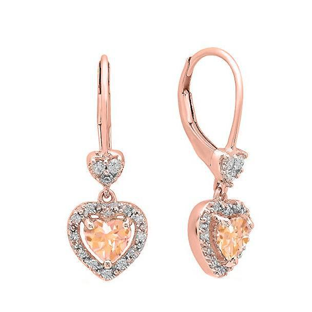 4.0CTTW Morganite Dangling Drop Heart Shaped Leverback Earrings in 14K Rose Gold-Daily Steals