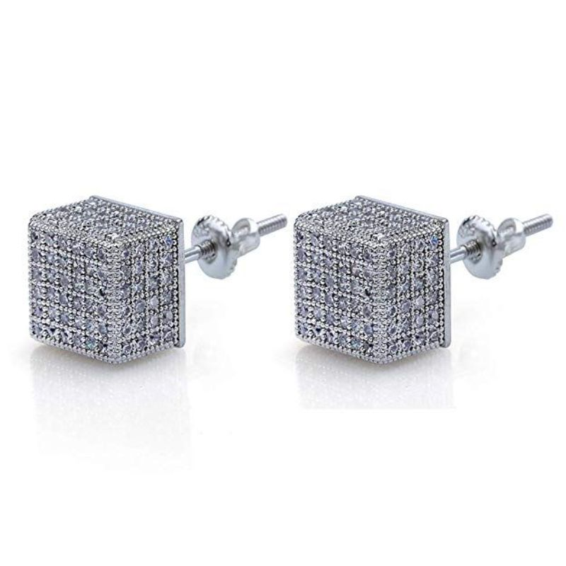 Pave Square Stud Earrings Embellished With Crystal In 18k White Gold Filled-White Gold/White-White Gold Box-Daily Steals