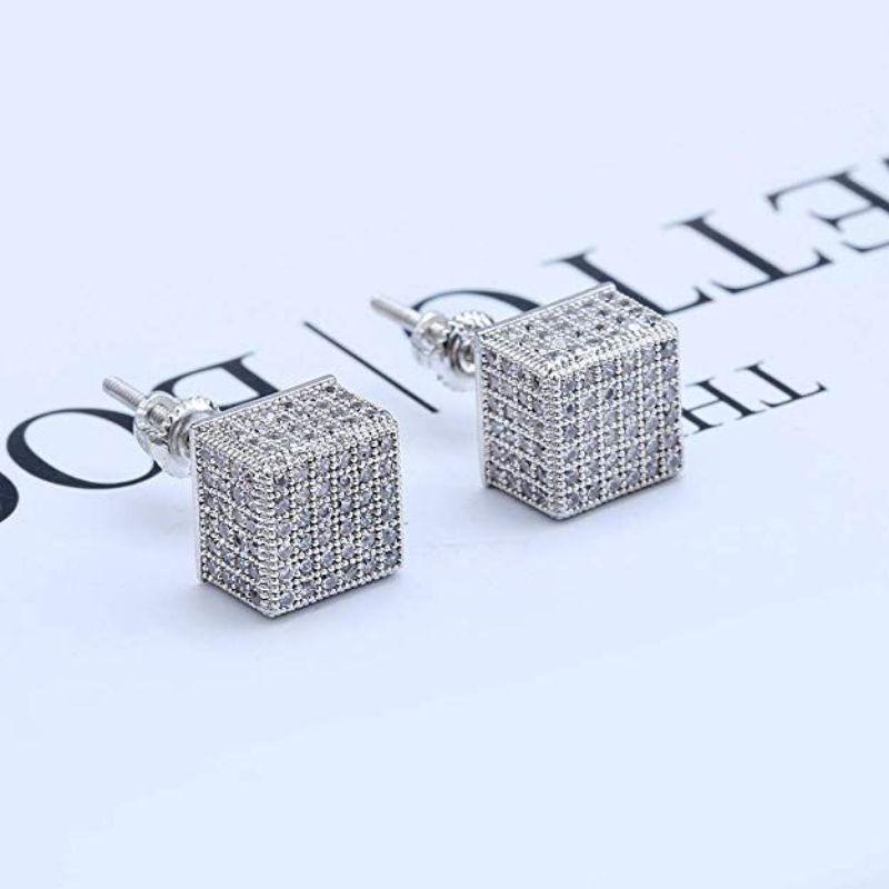 Pave Square Stud Earrings Embellished With Crystal In 18k White Gold Filled-Daily Steals