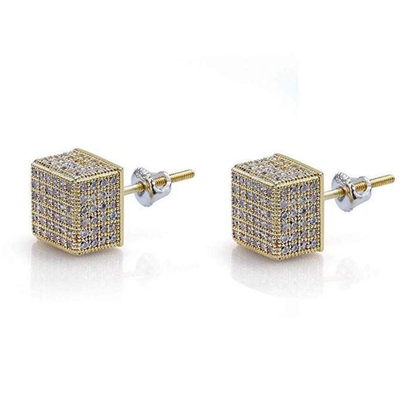 Pave Square Stud Earrings Embellished With Crystal In 18k White Gold Filled-Yellow Gold/White-Yellow Gold Box-Daily Steals
