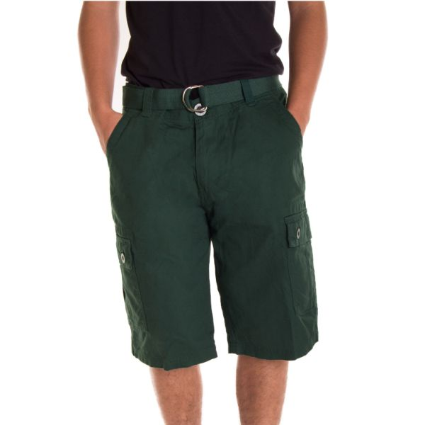 Alta Designer Fashion Men's Cargo Shorts, Twill Belt Included - Multiple Colors-Wood Green-30-Daily Steals
