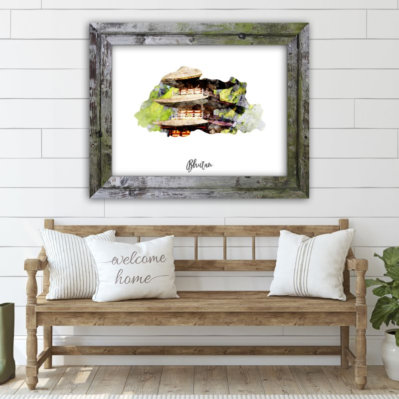 "Bhutan Watercolor Map Print - Unframed Art Print-19""x13""-Horizontal/Landscape-Daily Steals"