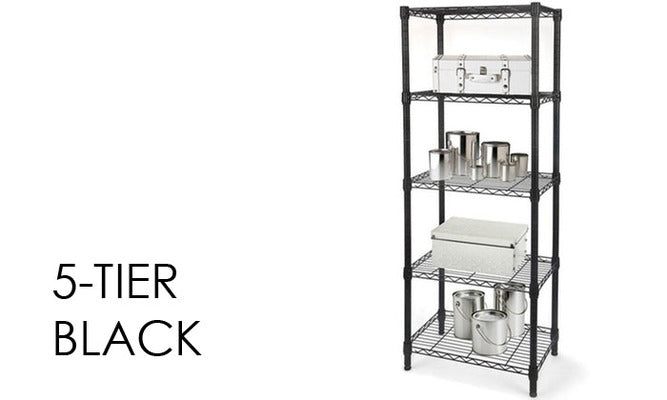 Daily Steals-Heavy Duty Steel-Wire Storage Racks with Adjustable Shelves-Home and Office Essentials-5-Tier - Black-