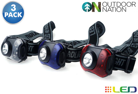 Daily Steals-Outdoor Nation 7-LED Headlamp with White and Red Lighting - 3 Pack-Outdoors and Tactical-