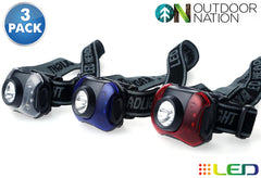 Daily Steals-[3-Pack] Outdoor Nation 7-LED Headlamp with White & Red Lighting-7-LED Headlamp-