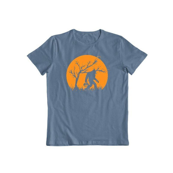 Bigfoot Trick or Treating on Halloween Unisex T-Shirt-Indigo Blue-S-Daily Steals